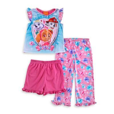 Girls' Sleepwear > Nickelodeon™ PAW Patrol Size 4T 3-Piece Short-Sleeve Ruffle Pajama Set