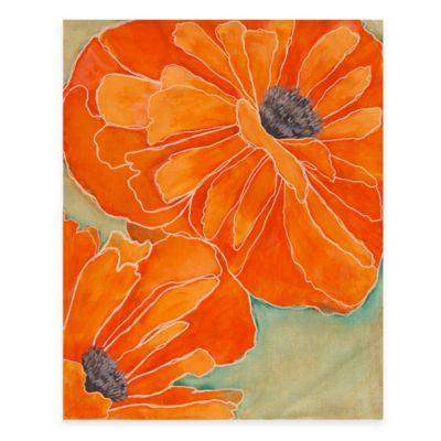 Wild Poppy in Tangerine II 14-Inch x 18-Inch Wood Wall Art