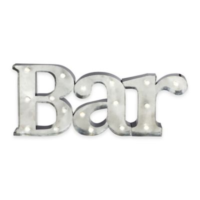 "Loft Living LED Marquee ""Bar"" Sign Wall Art in Silver"