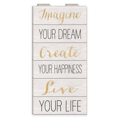 "Inspirational ""Imagine, Create, Live"" Wood Wall Art"