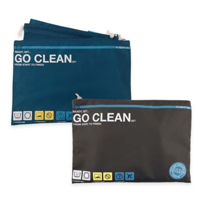 "Flight 001 4-Piece ""Go Clean"" Travel Set in Blue"