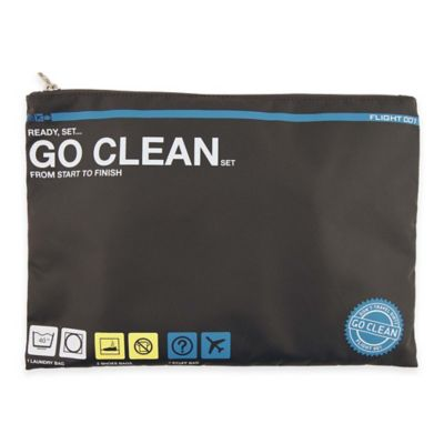 "Flight 001 4-Piece ""Go Clean"" Travel Set in Charcoal"