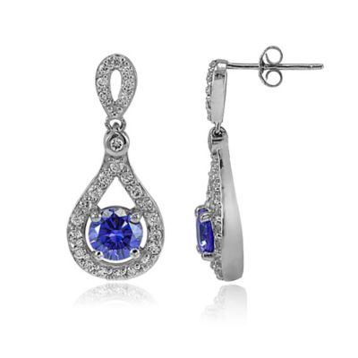 Cherie Sterling Silver Tanzanite and Cubic Zirconia Drop Dangle Post Earrings