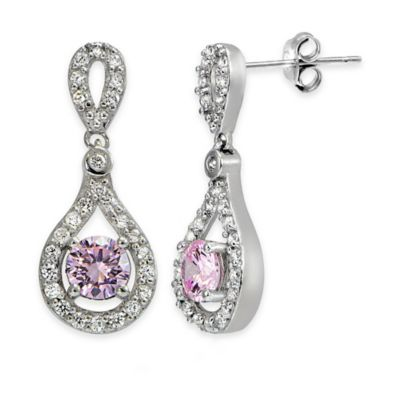 Cherie Sterling Silver Light Pink and White Cubic Zirconia Drop Dangle Post Earrings