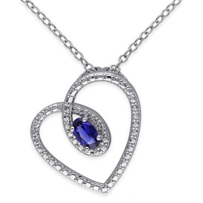 Sterling Silver Created Oval Ruby 18-Inch Chain Heart Silhouette Pendant Necklace