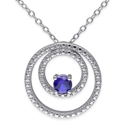 Sterling Silver 1/3 cttw Round Created-Sapphire 18-Inch Chain Double Circle Pendant Necklace