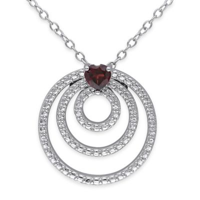 Sterling Silver 1/3 cttw Heart-Shaped Garnet 18-Inch Chain Triple Circle Pendant Necklace