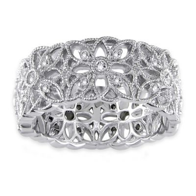 Sterling Silver .33 cttw Diamond Size 9 Ladies' Openwork Flower Band