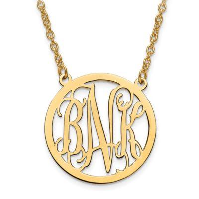 14K White Gold 18-Inch Chain Script Letters Large Circle Pendant Necklace
