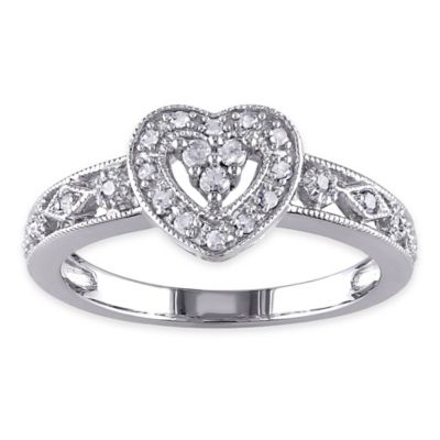 Sterling Silver .13 cttw Diamond Size 5 Ladies' Openwork Heart Ring