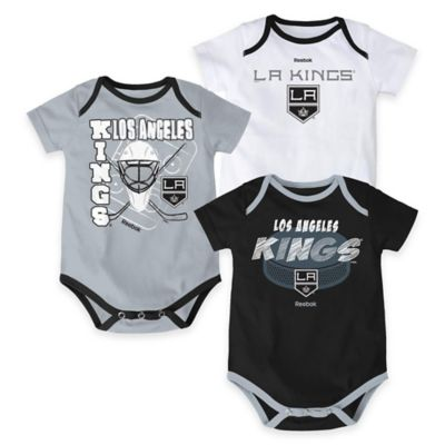"NHL Los Angeles Kings ""3 Point Spread"" Size 3-6M Bodysuit Set (Set of 3)"
