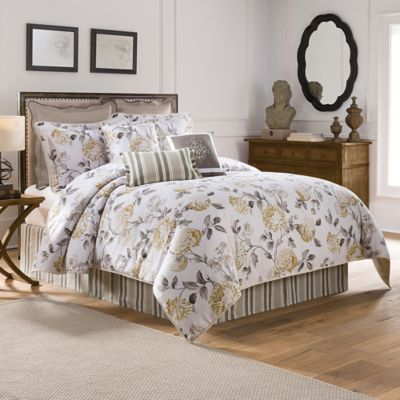 Colonial Williamsburg Eve Reversible King Comforter Set in Grey/Yellow