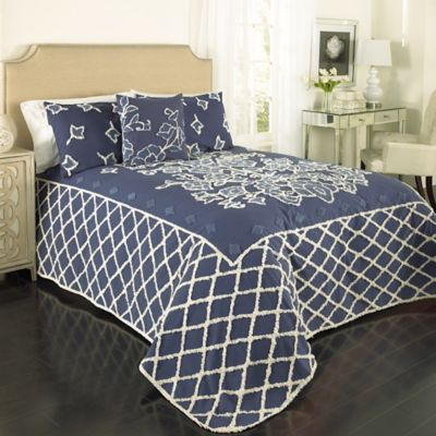 Blue Grotto Chenille Queen Bedspread in Blue