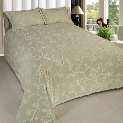Long Branch Chenille Queen Bedspread in Sage