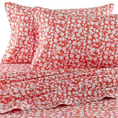 Teen Vogue® Dancing Daisies Flannel Twin Sheet Set in Coral