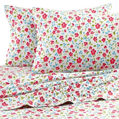 Teen Vogue® Floral Field Flannel Twin Sheet Set in Pink