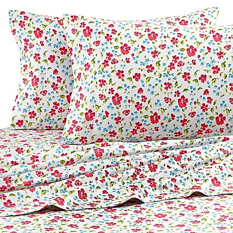 Teen Vogue 174 Floral Field Flannel Sheet Set In Pink Bed