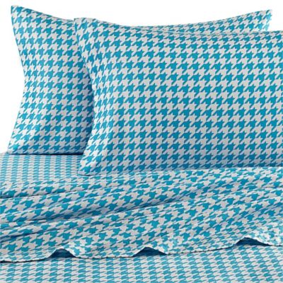 Teen Vogue® Houndstooth Flannel Twin Sheet Set in Turquoise