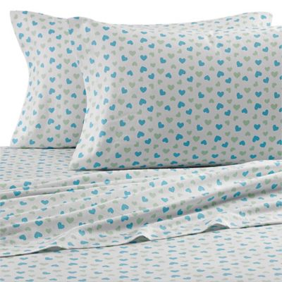 Teen Vogue® Vintage Heart Flannel Twin Sheet Set in Aqua