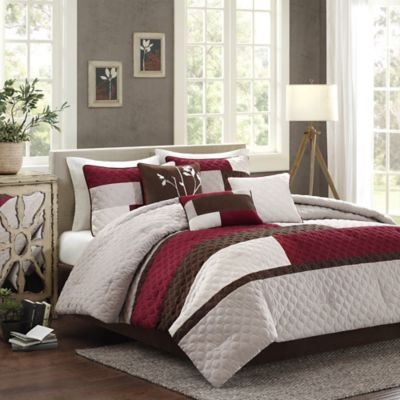 Madison Park Cooper 7-Piece Queen Comforter Set in Red