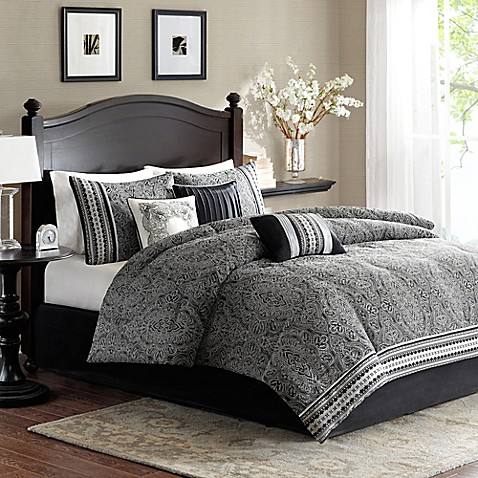 Madison Park Barton Comforter Set In Black Bed Bath Amp Beyond