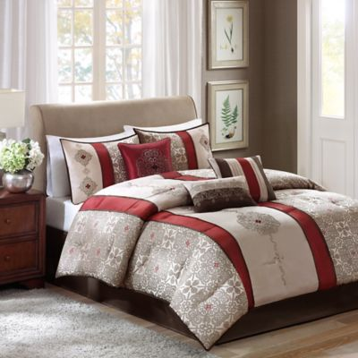 Madison Park Donovan 7-Piece King Comforter Set in Red