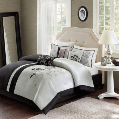 Madison Park Kendall Reversible 7-Piece King Comforter Set in Black