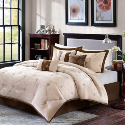Madison Park Chelsea Reversible 7-Piece Queen Comforter Set in Beige