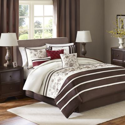 Madison Park Kathy 7-Piece Queen Comforter Set in Brown