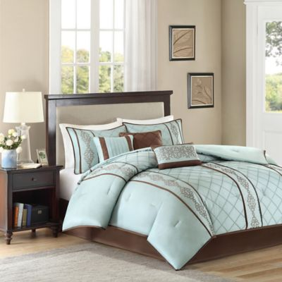 Madison Park Natasha 7-Piece Queen Comforter Set in Blue