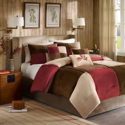 Madison Park Jackson Blocks 7-Piece Queen Comforter Set in Red