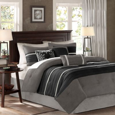 Madison Park Palmer 7-Piece California King Comforter Set in Black/Grey