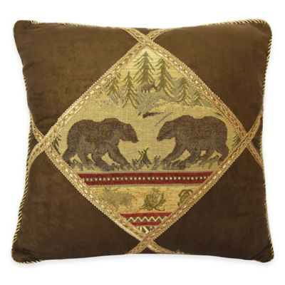 HiEnd Accents Diamond Bear Square Throw Pillow