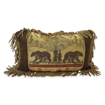 HiEnd Accents Fringed Bear Oblong Throw Pillow