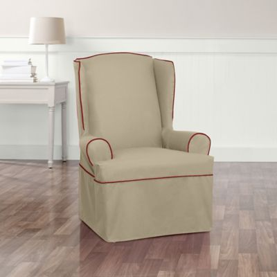 Sure Fit® Monaco Wing Armchair Slipcover in Khaki/Red