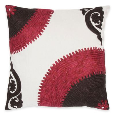 Rizzy Home Embroidered Pattern Square Throw Pillow in Pink