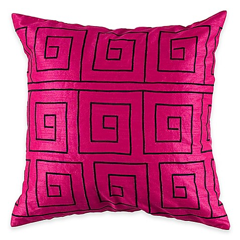 Square Throw Pillow Pattern : Rizzy Home Embroidered Pattern Square Throw Pillow - www.BedBathandBeyond.com