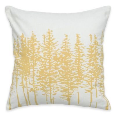 Rizzy Home Forest Square Throw Pillow in Yellow