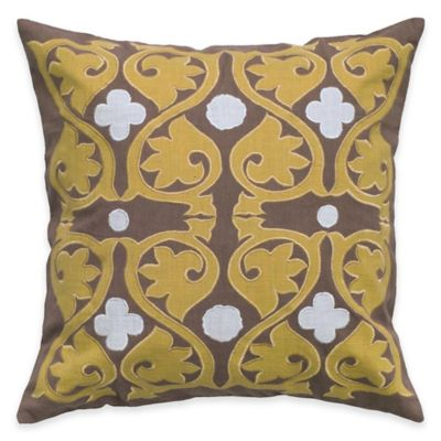 Rizzy Home Embroidery and Applique Square Throw Pillow in Light Brown