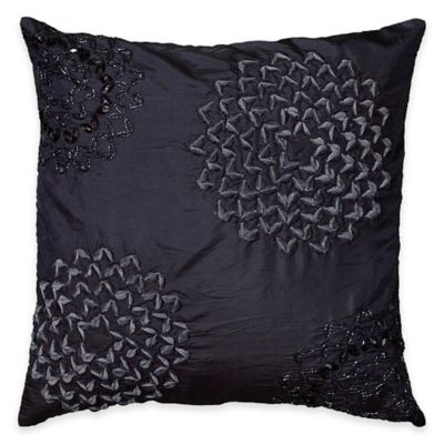 Rizzy Home Floral Applique Square Throw Pillow in Blue