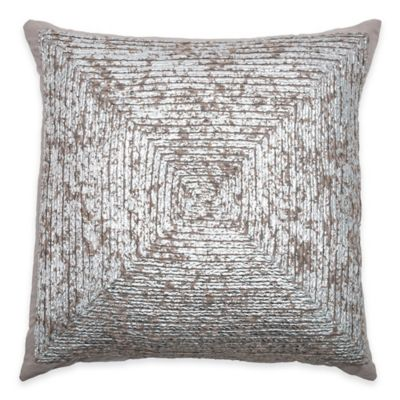 Rizzy Home Braided Metallic Print Square Throw Pillow in Silver