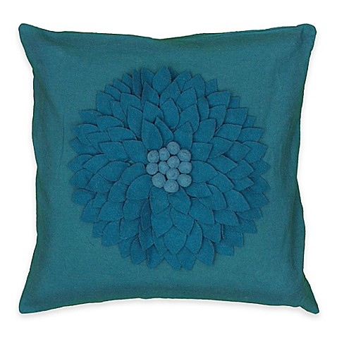 Buy Rizzy Home Floral Applique Throw Pillow in Turquoise from Bed Bath & Beyond