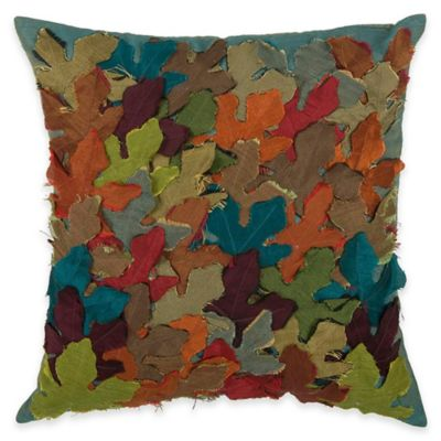 Rizzy Home Appliqued Laser-Cut Leaves Square Throw Pillow