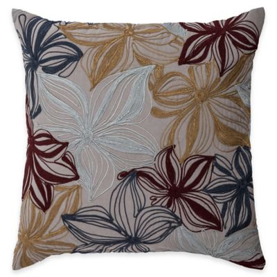 Rizzy Home Crewel Embroidery Square Throw Pillow