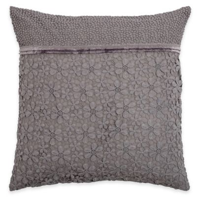 Rizzy Home Lace and Ribbon Square Throw Pillow in Grey