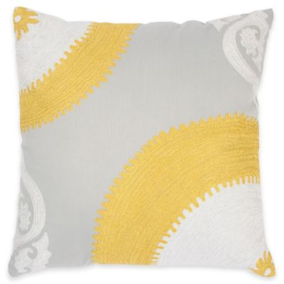 Rizzy Home Embroidered Pattern Square Throw Pillow in Yellow/Grey