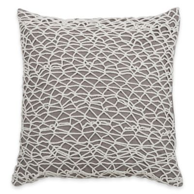 Rizzy Home Crochet Applique Square Throw Pillow in Grey