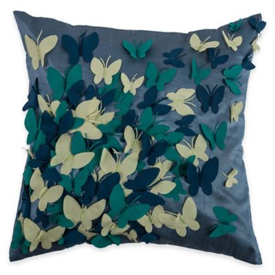 Rizzy Home Butterfly Applique Square Throw Pillow in Blue