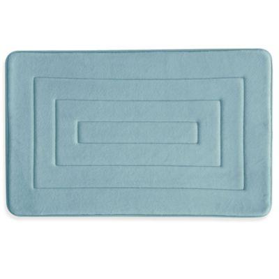 Bacova Microban Concentric 20-Inch x 32-Inch Memory Foam Bath Rug in Blue