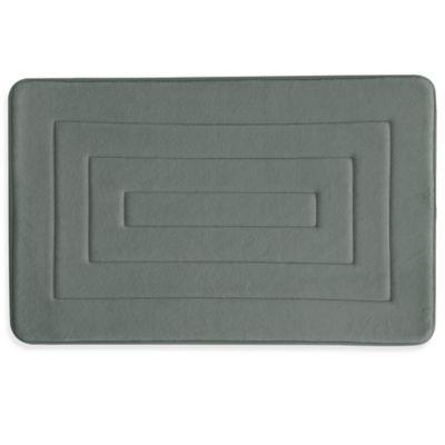 Bacova Microban Concentric 20-Inch x 32-Inch Memory Foam Bath Rug in Grey